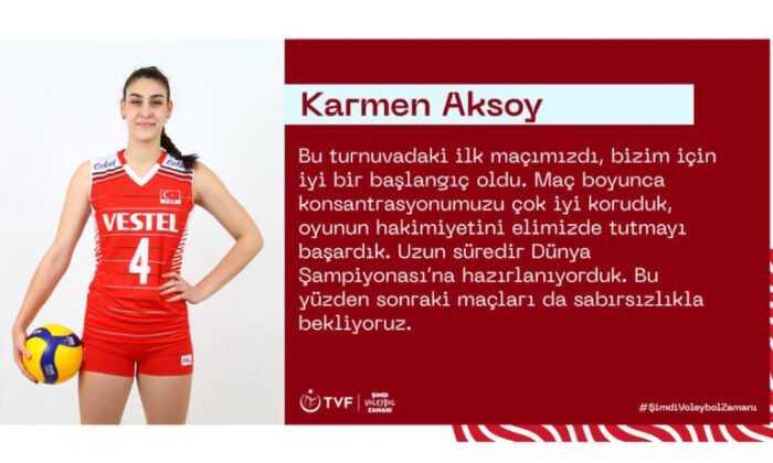 """Karmen Aksoy: """"Bizim için İyi Bir Başlangıç Oldu"""""""